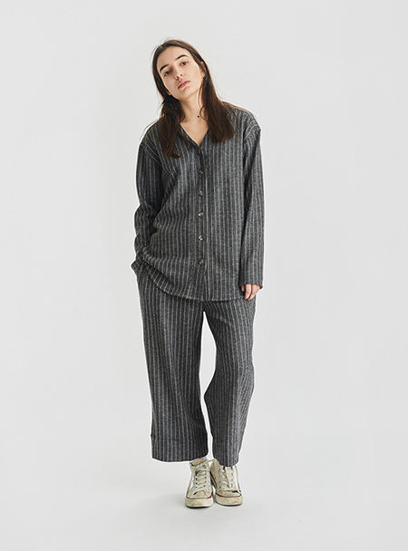I AND ME Striped Merino Wool Baseball Tunic - Grey