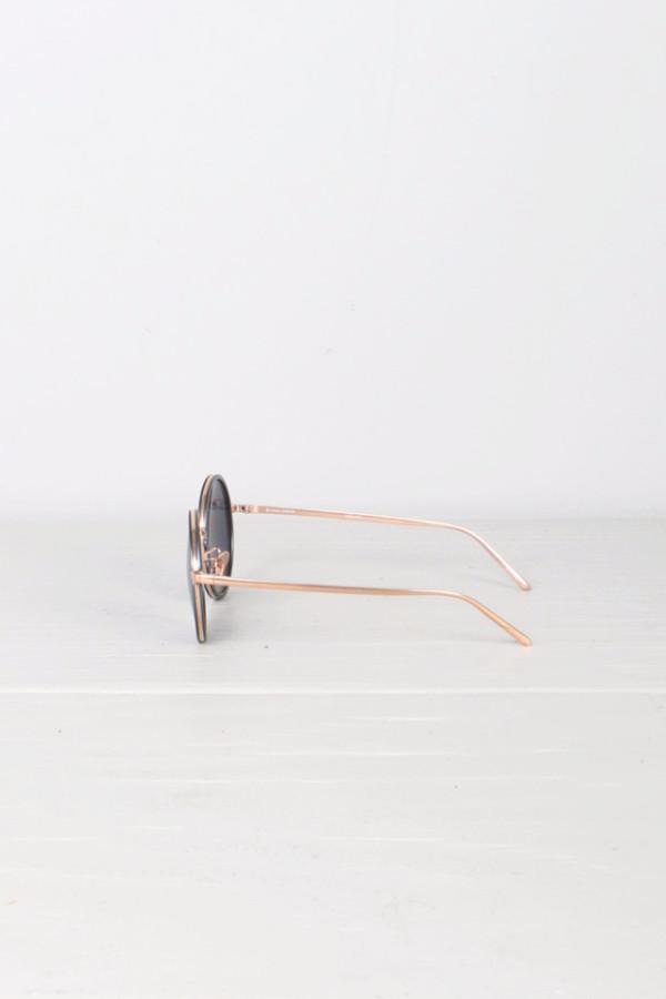 Linda Farrow Round Matte Blue Sunglasses