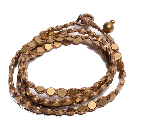Triple Wrap Disk Necklace or Bracelet in Desert
