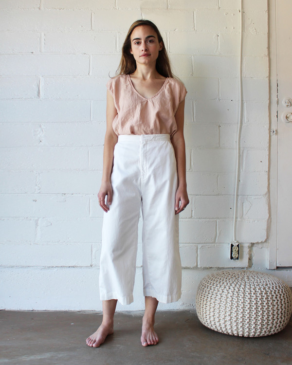 esby AVA CROPPED PANT - WHITE