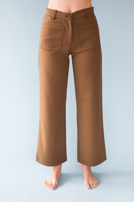 Side Party Sissi Patch Pocket Flared Pants - brown