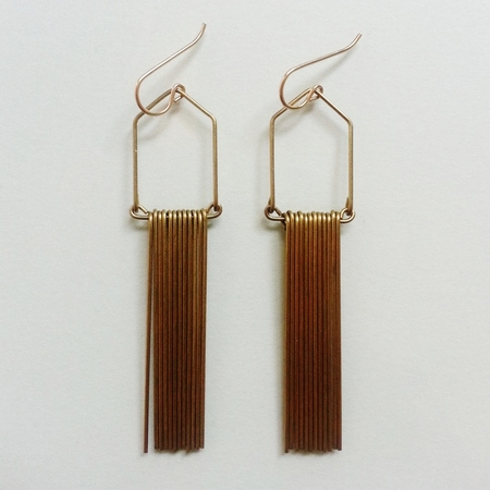 Hellbent Narrow Angular Fringe Earrings