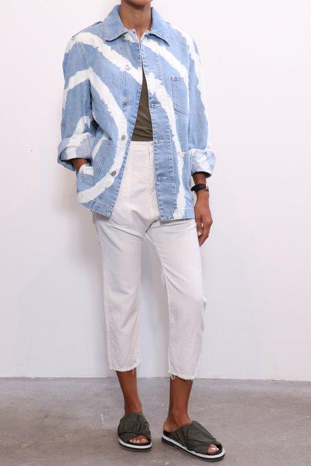 Ganni Blue Washed Denim Jacket - hand bleached denim