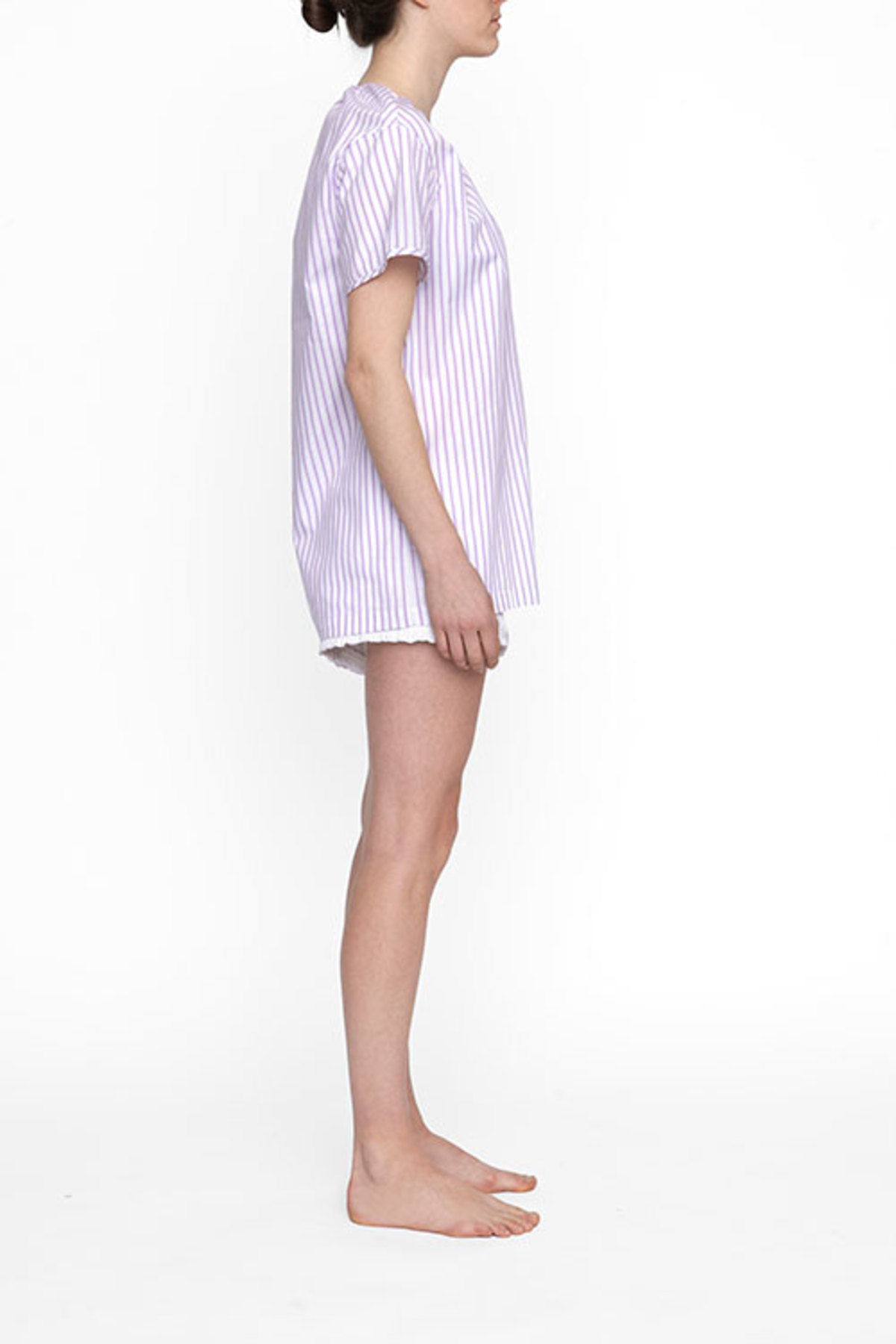The sleep shirt short sleeve nightshirt raspberry stripe for Sleep shirt short sleeve