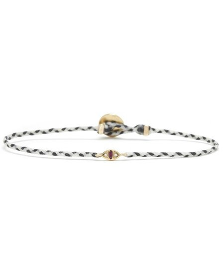 Scosha CAT EYE SIGNATURE BRACELET WITH RUBY - White/Black