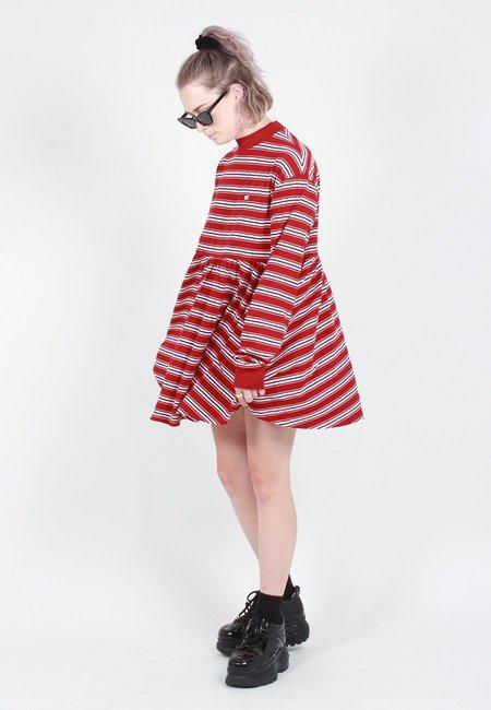 Lazy Oaf Stripy Long Sleeve Sally Dress - red
