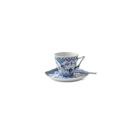 Royal Copenhagen 5 oz Blue Fluted Full Lace Coffee Cup & Saucer