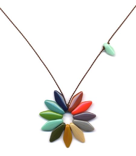 IRK Jewelry MULTI DISK FLOWER PENDANT - RAINBOW