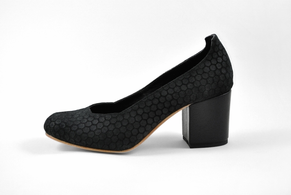 The Palatines Saturo Pump - black hex leather