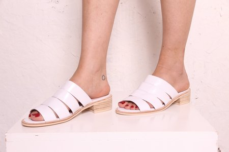 """""""INTENTIONALLY __________."""" Emmy Leather Sandals - White"""