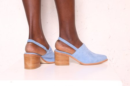 """INTENTIONALLY __________."" Erica Suede Mule - Blue"
