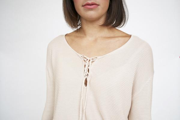 Lumiere Lace-up Knit Blouse