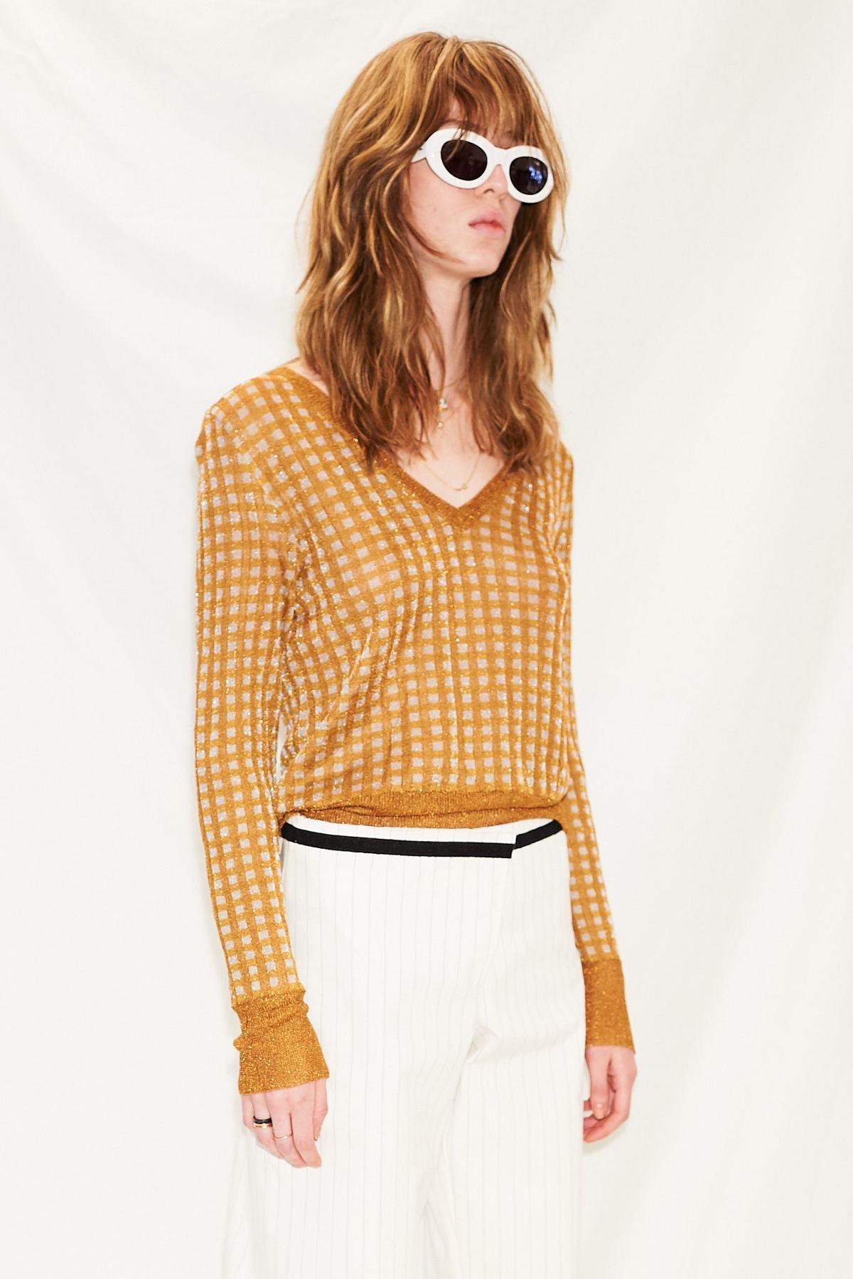 Happy Sheep Lurex V Neck Sweater