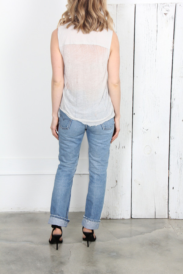 RAQUEL ALLEGRA DESTROYED SHRED MUSCLE T IN DIRTY WHITE