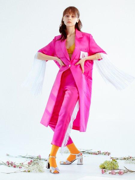 Suzanne Rae Fringe Sleeve Coat - Magenta