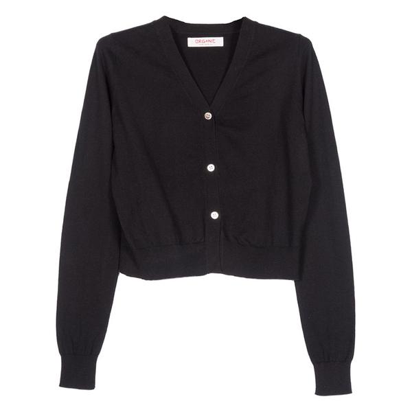 Organic by John Patrick 3-button cardigan - black
