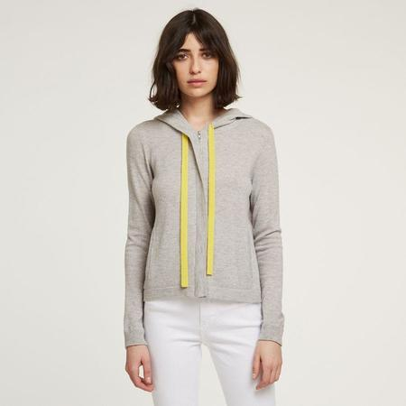 Autumn Cashmere Boxy Zip Hoodie with Contrasting Ties - Fog/ Citronelle