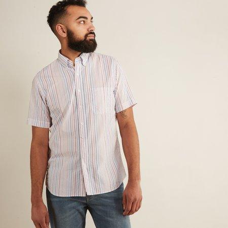 Hartford Sander MC Woven Shirt - Seersucker Blue/Red/Indigo Stripe