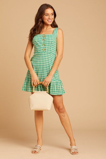 Lush Mini Dress - Green Gingham