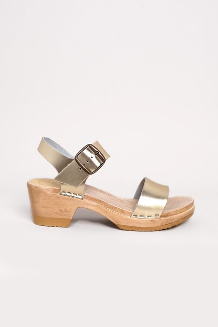 f2f8a1830bb6 No.6 Two Strap Clog on Mid Heel - Gold ...