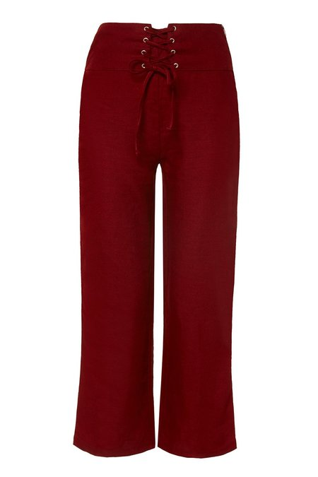 Aesthetic Stories 100% Linen Cropped Pants - Red