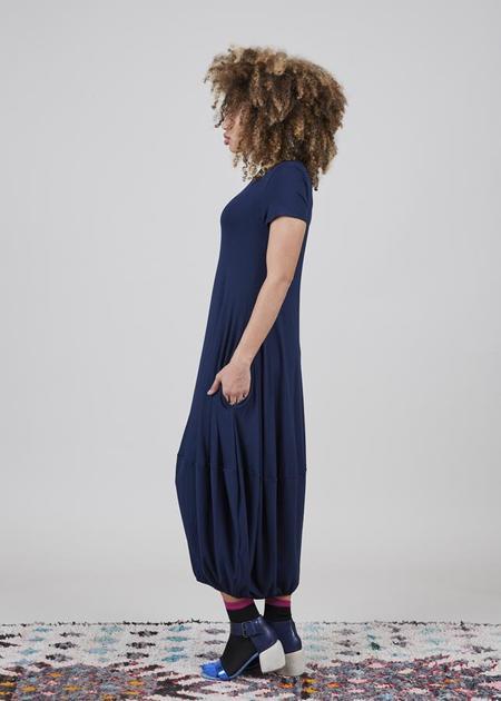 Igor Dobranic Magnolia Gathered Dress - Deep Blue