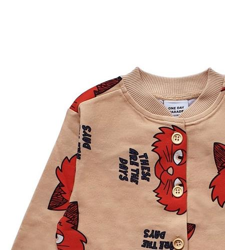 kids One Day Parade Cat Cardigan - Brown