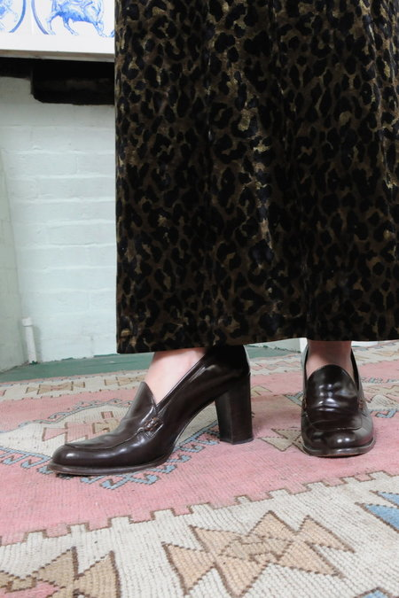 Weird Sisters Vintage Anne Klein Heeled Leather Penny Loafers - Dark Brown