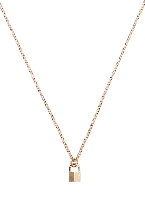 Tiny Padlock Necklace - Gold