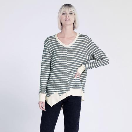Wilt Oversize Stripe Sweatshirt - Ink/Vanilla
