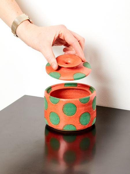 Matthew Ward Studio Polka Dot Jar - Coral/Glaze