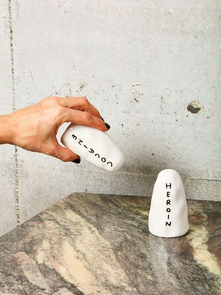 David Shrigley Salt and Pepper Shakers - White