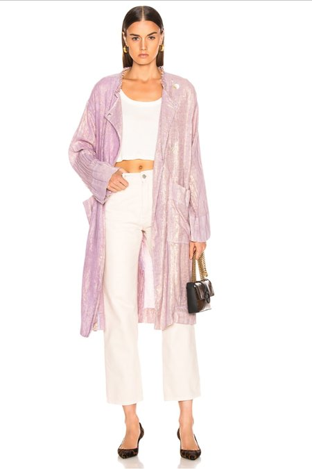 Raquel Allegra Lame Cropped Trench Coat - Lilac