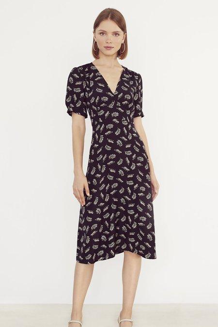 HVN Paula Deep V Neck Dress - Tarzan Leopard