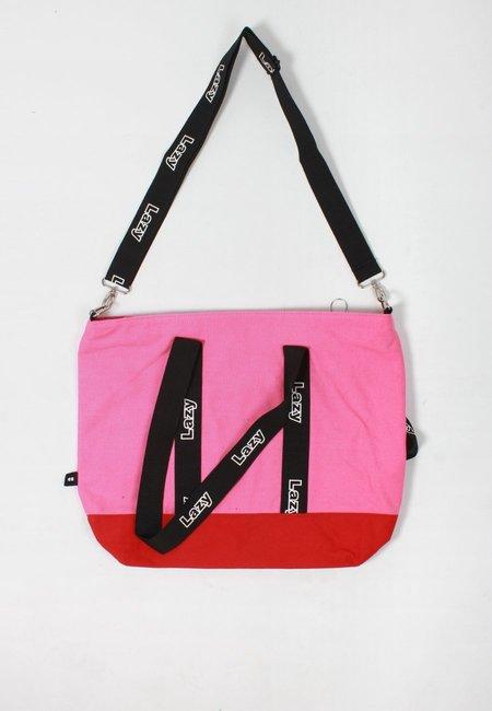 Lazy Oaf Logo Tape Tote Bag - pink