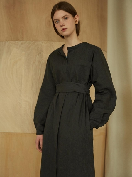 MORE OR LESS Linen Robe Dress - Charcoal