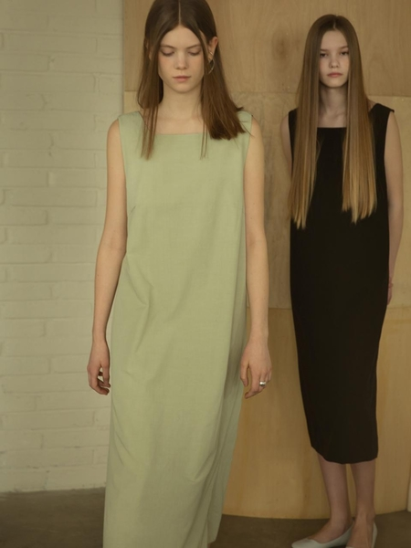 MORE OR LESS Strap Detail Dress - Light Green