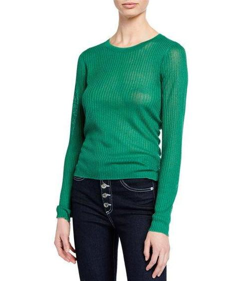 Veronica Beard Canal Long Sleeve Sweater - Kelly Green