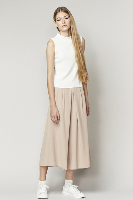 ACHRO PLEATED WIDE LEG CULOTTES - BEIGE