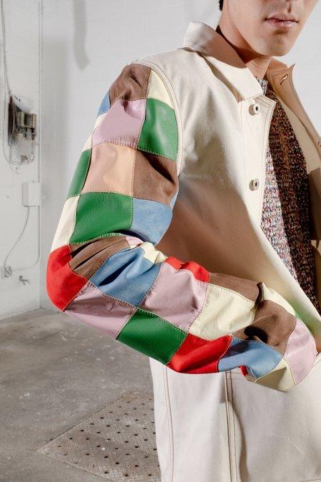LOEWE Workwear Jacket with Leather Patchwork Sleeves