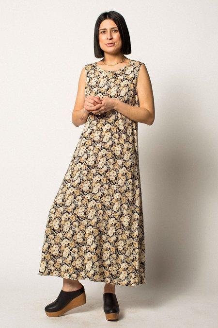 VINTAGE Preservation Floral Dress - Cream/Black
