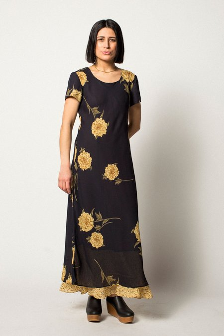 VINTAGE Preservation Floral Dress - Navy/Yellow