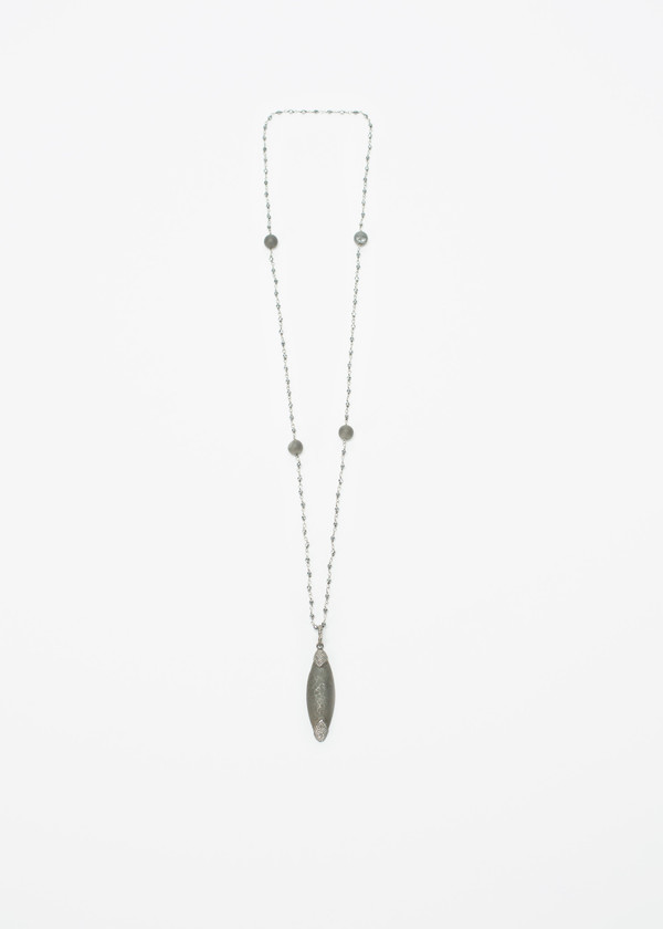 Jewels by Piper Diamond and Brushed Silver Pendant Necklace