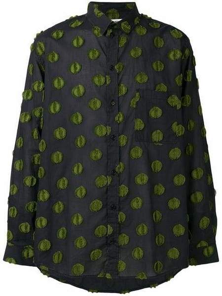 Henrik Vibskov Inner Shirt - Black/Olive Green Dots