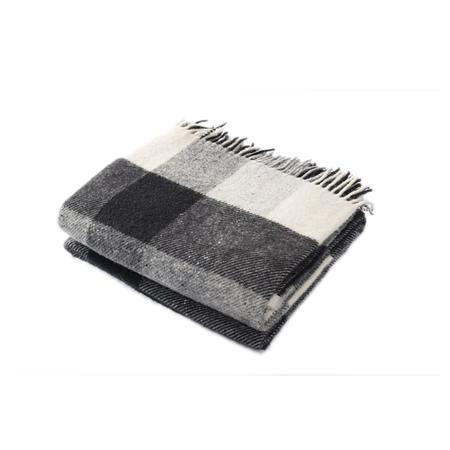 Harlow Henry Check Throw Wool Blanket - Creme/Black