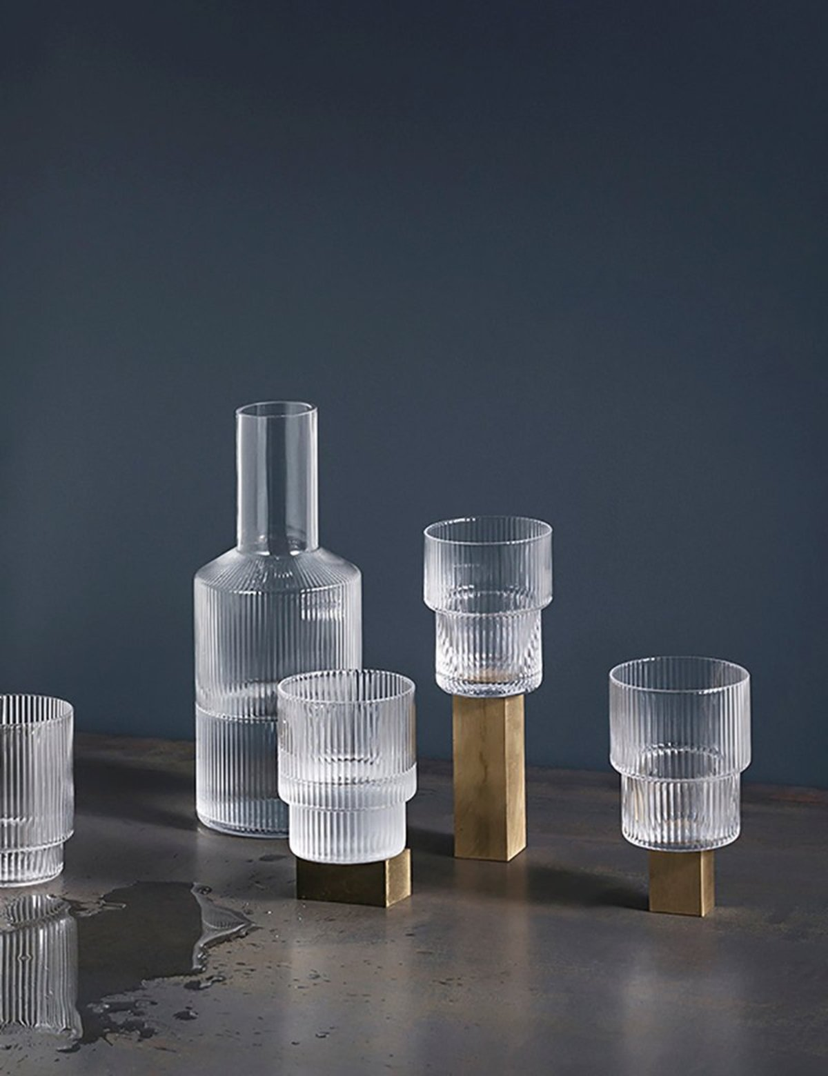 A Carafe That Is A Blind Glass ferm living ripple glass carafe - clear on garmentory