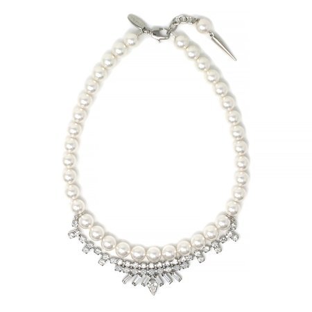 Joomi Lim Pearl and Crystal Necklace With Long Spike Charm - Rhodium/Crystal
