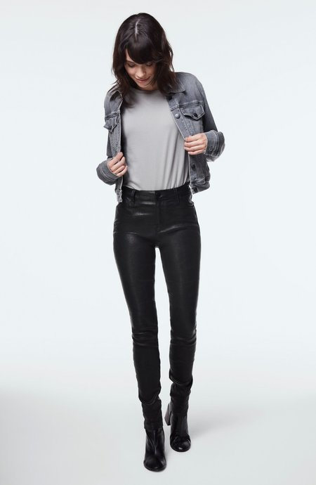 J Brand Maria High-Rise Super Skinny Leather Pant - Black