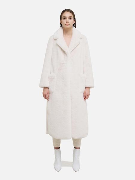 HAVE LESS Maxi Long Faux Fur Coat - White