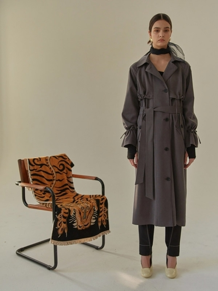 MA JOURNEE Shirring Trench Coat - Charcoal